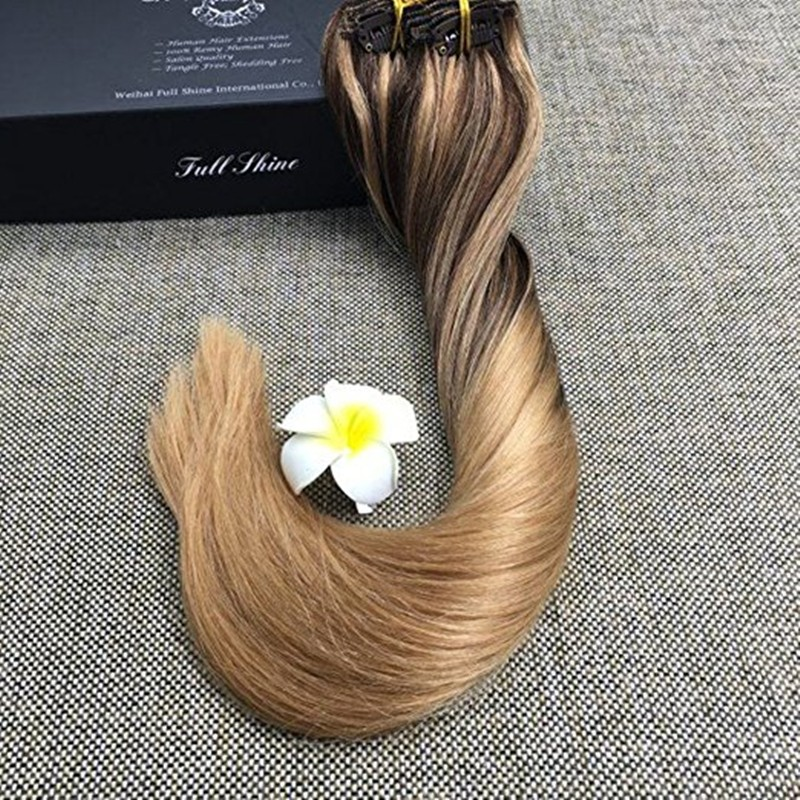 Full Shine 9 pcs Brown Sombre Balayage Hair Extension Color #4 fading to #27 Highlighted Color 27 Flamboyage Brazilian Clip Hair