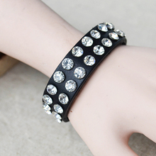 Two laps shine Rivet   leather          one direction charm secret bracelets men for women bangles   steampunk rock vintage