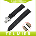 18mm 20mm 22mm Quick Release Watchband Universal Genuine Leather Watch Band Stainless Steel Butterfly Clasp Strap