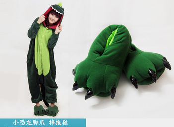 free shipping Cosplay Dinosaur Paw slippers cartoon lovers plush thermal package with cotton-padded claw slippers