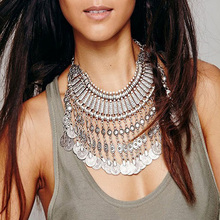 Classic Bohemian Necklace Exaggetated Design Handmade Floral Historic Silver Coin Tassel Assertion Necklace & Pendants NK835