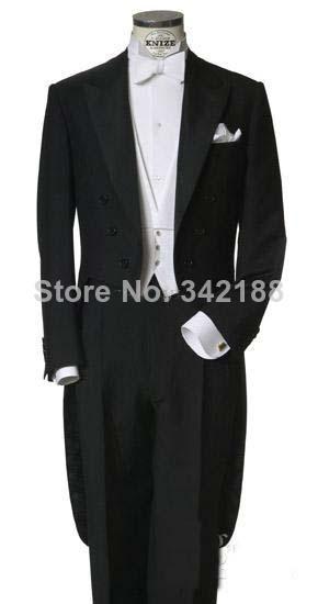 Custom Made Measure Tailored men's BESPOKE tuxedo / classic black tailcoats for men left pocket/wedding tuxedos/wedding men suit(China (Mainland))