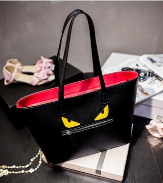 2016 Hot Pu Leather Hand Bag Evil Eye Little Monster Yellow Eyes Shopping Bag Zipper Large Capacity Tote Bag(China (Mainland))