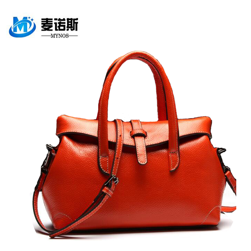 2016 NEW 100% Cowhide Genuine Leather Handbags Women Brand Soft Casual Totes Pillow Crossbody Bags Ladies SAC MAIN Female