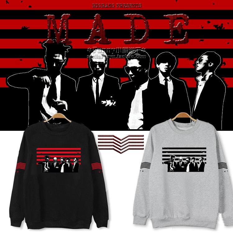 2015 KPOP Bigbang MADE hiphop Hoodie bigbang concert world tour fans long hoodies korean star COTTON character sweatshirt TOP GD-in Hoodies & Sweatshirts from Women