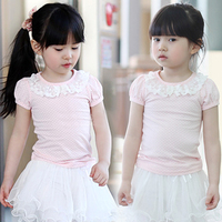Free Shipping Baby Girls Clothing Summer Lace Pink Tshirts O-neck Dots Tops,Hot Sale  C0022