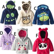 kids coat 2015 classic sweatshirt children's clothing boys girls cartoon thorn coral velvet dinosaur fleece jacket hoodie(China (Mainland))