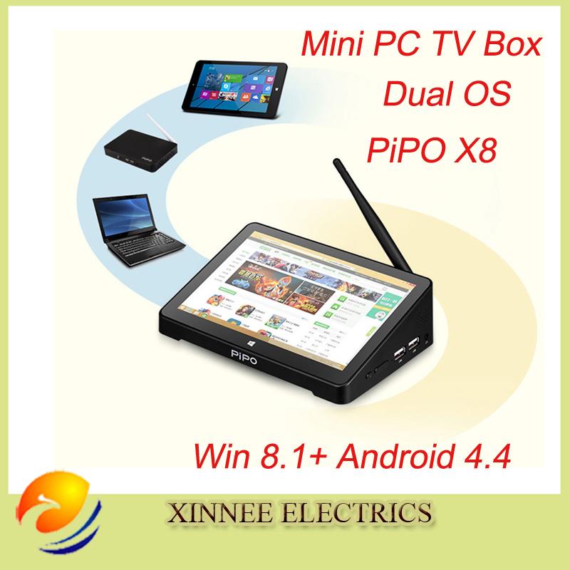 "PIPO X8 Mini tv box Intel Windows8.1 and android 4 Quad Core Dual Boot OS Intel Z3736F Quad Core Mini PC 7""Tablet Mini PC TV Box(China (Mainland))"