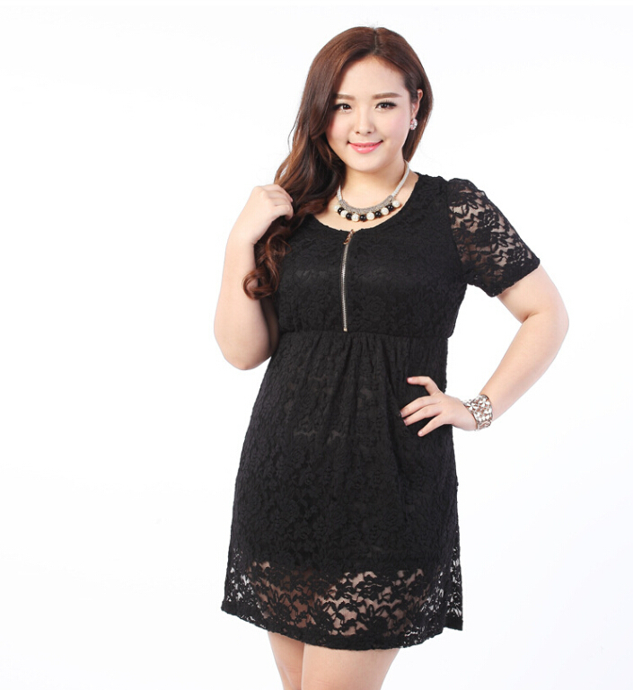 2014 Hot Big Size Lace Elegant Dress Fat women Clothing ...