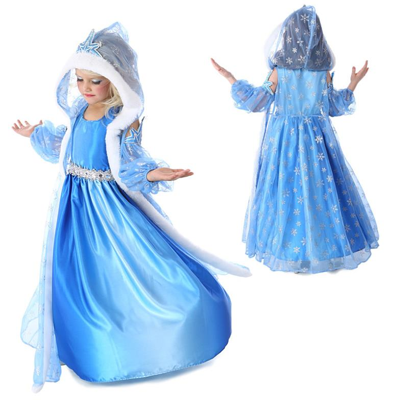 2015 Hot Baby girls Anna Elsa party princess dresses elsa costume,Autumn Winter Kids clothing baby girl dress,children clothing(China (Mainland))