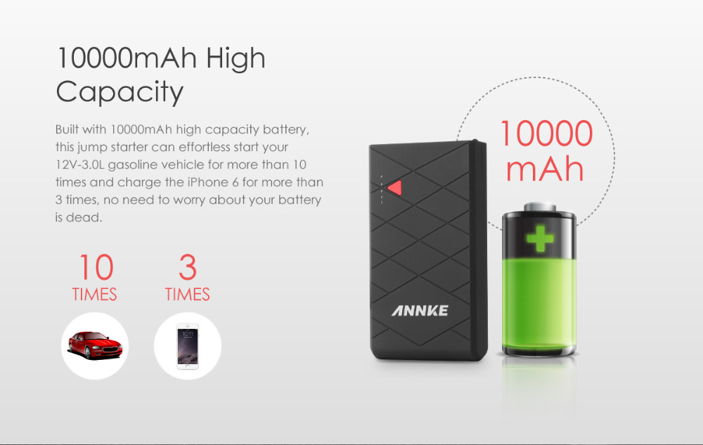 High capacity 10000mAh Car Jump Starter Power Bank Mini Portable Emergency Battery Charger for Auto and Mobile Phone