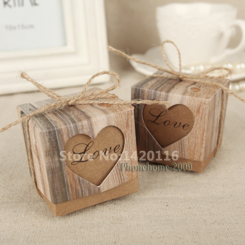 Buy Wedding Gift Box : Aliexpress.com : Buy 100*Wedding Love Heart Rustic Kraft Candy Boxes ...