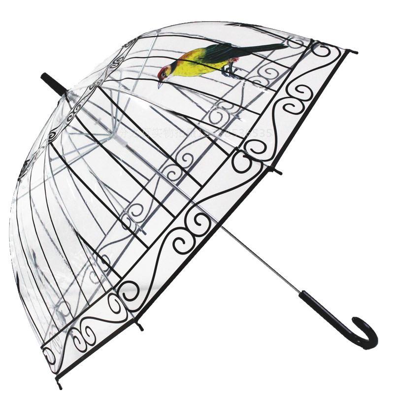 Creative 3D Birdcage pattern Rain girls princess transparent umbrella super arch Apollo umbrella Child mushroom umbrella(China (Mainland))