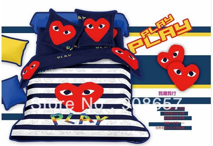 cotton bed in a bag red play cartoon blue stripes print kids bedding set children's quilt/duvet covers full queen comforter sets(China (Mainland))