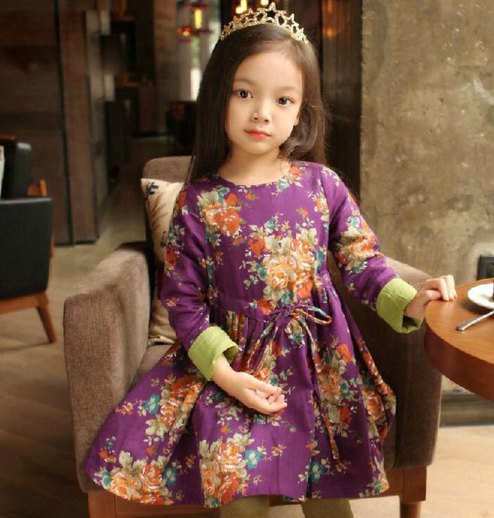 2015 New Children long-sleeved dress Broken beautiful princess dresses girls Dress Korean<br><br>Aliexpress