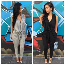 Polyester Sashes Regular Casual Fashion Deep V-Neck Sexy Summer 2015 Rompers Womens Jumpsuit for Women Black Gray S M L XL(China (Mainland))