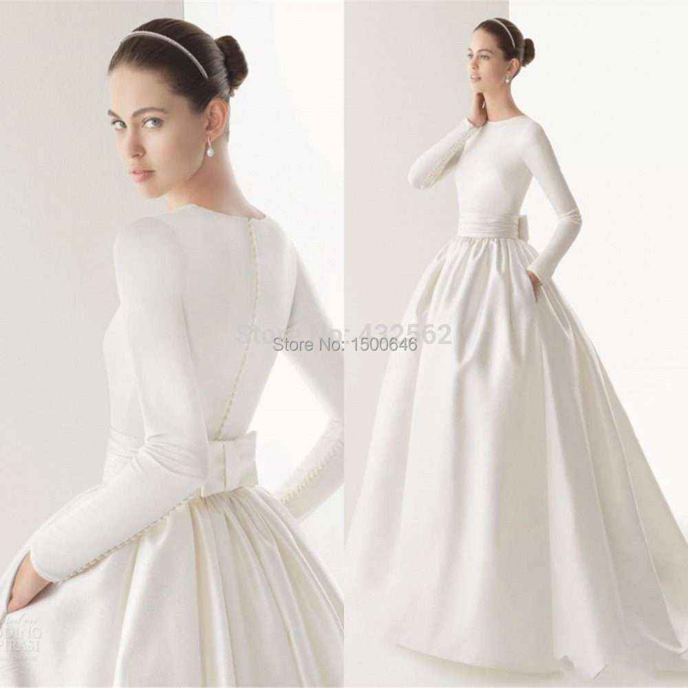 White high neck ball gown wedding dresses with long for Satin sash for wedding dress