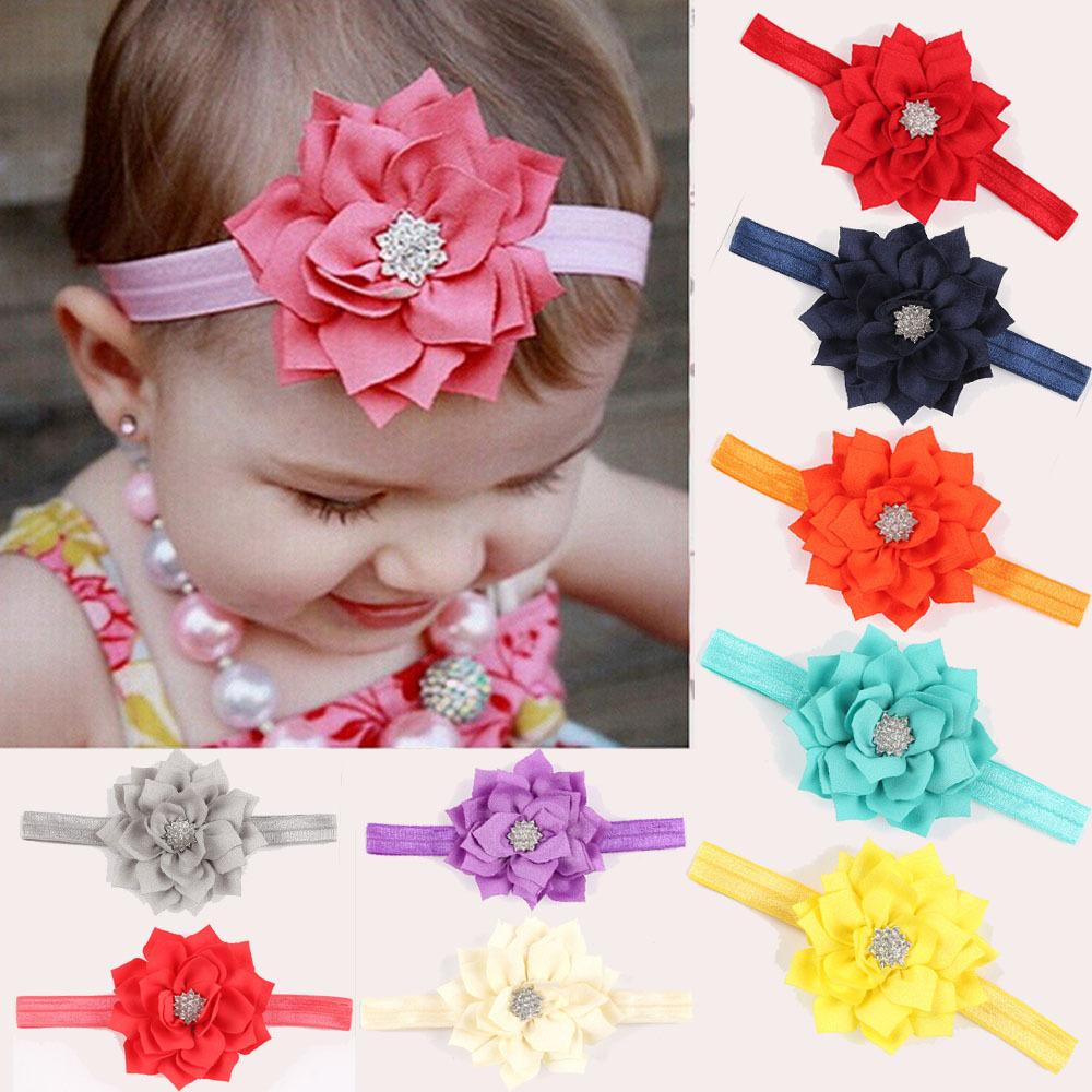 New Fashion Baby Girl Toddler Infant Elastic Hairband Headbands Hair Head Band Lotus Flower Accessories Rhinestone - Enjoy Sweet Life store