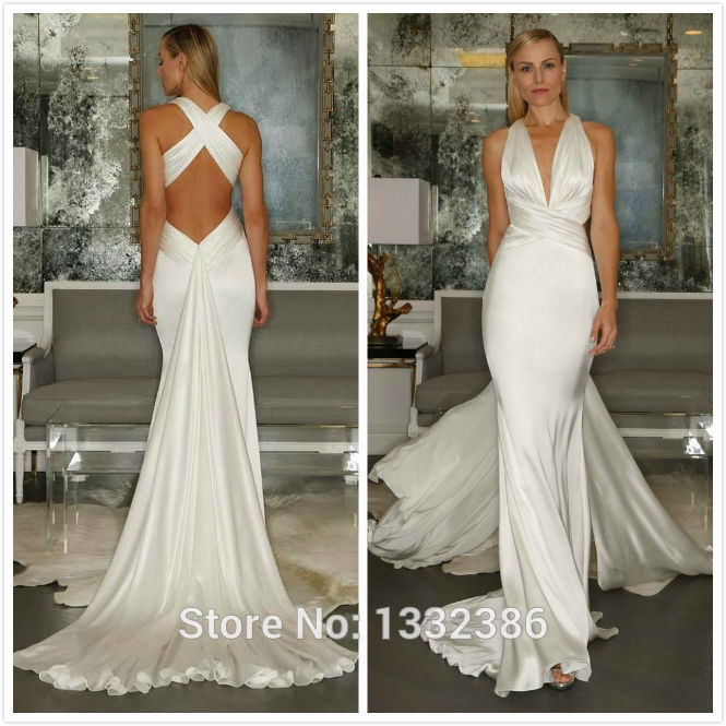 Hotsexy backless silk satin wedding dress v neck long for Satin silk wedding dresses