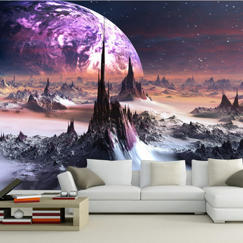 high-end stereoscopische 3D behang Star Universe fantasy bergen behang ...
