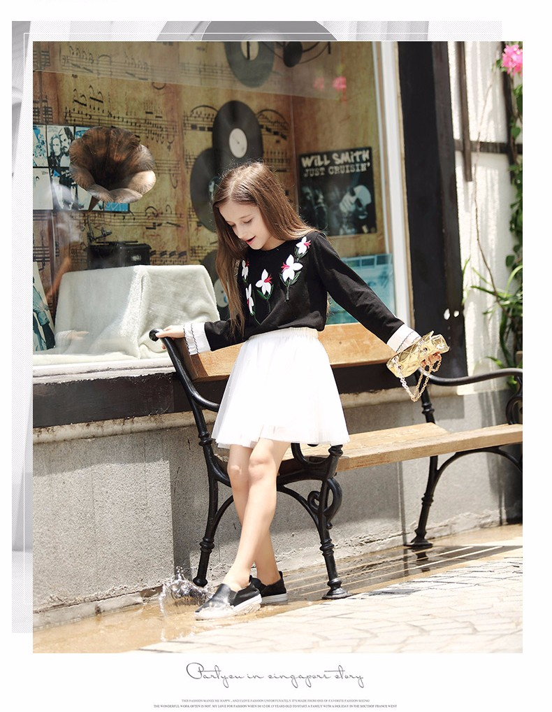 Teen Girls T Shirt Long Ruffle Sleeves Lily Flower Embroidery Applique Tees Chidren Clothes 7 8 9 10 11 12 13 14T years old Kids