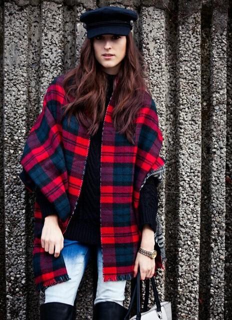 2016 мода осень зима для женщин леди шеи теплый проверьте плед шотландский реверсивный шаль - сторонняя мягкая шарфа украл