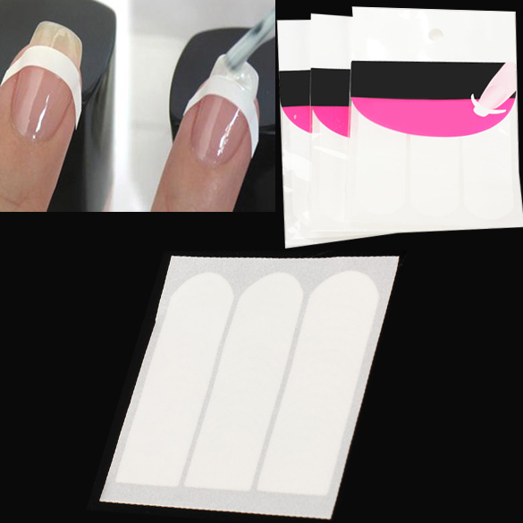 3Pcs French Manicure Strip Nail Art Form Fringe Guides Sticker DIY Line Tips White ES88(China (Mainland))