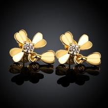 Beautiful design 18K yellow gold  swiss ZX  stud earrings sexy fashion cross jewelry for women(China (Mainland))
