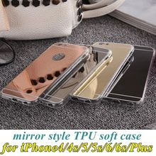 Luxury Mirror Case Soft TPU Back Cover For iPhone 4 4s 5 5s SE 6 6s Plus Phone Cases Shell Protective Capa for iPhone6s