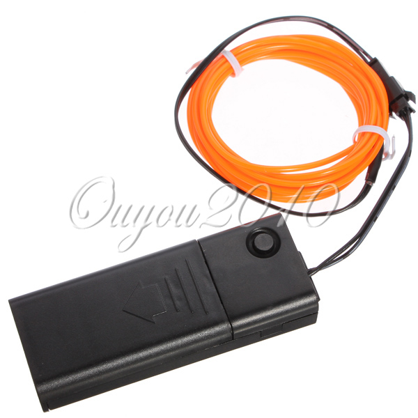 10 Colors 2M EL Wire Tube Rope Battery Powered Flexible Neon Cold Light Car Party Wedding Decor With Controller Free Shipping