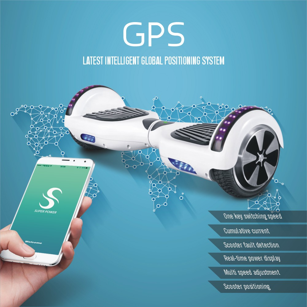 With Mobile App Hoverboard Bluetooth Unicycle Electric Skateboard 2 Wheels Self Balancing Scooter 6.5 inch Hoover Hover Board(China (Mainland))