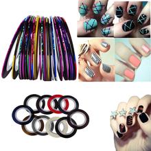 New 10Pcs Mixed Colors Nail Rolls Striping Tape Line DIY Nail Art Tips Decoration Sticker Nails Care(China (Mainland))