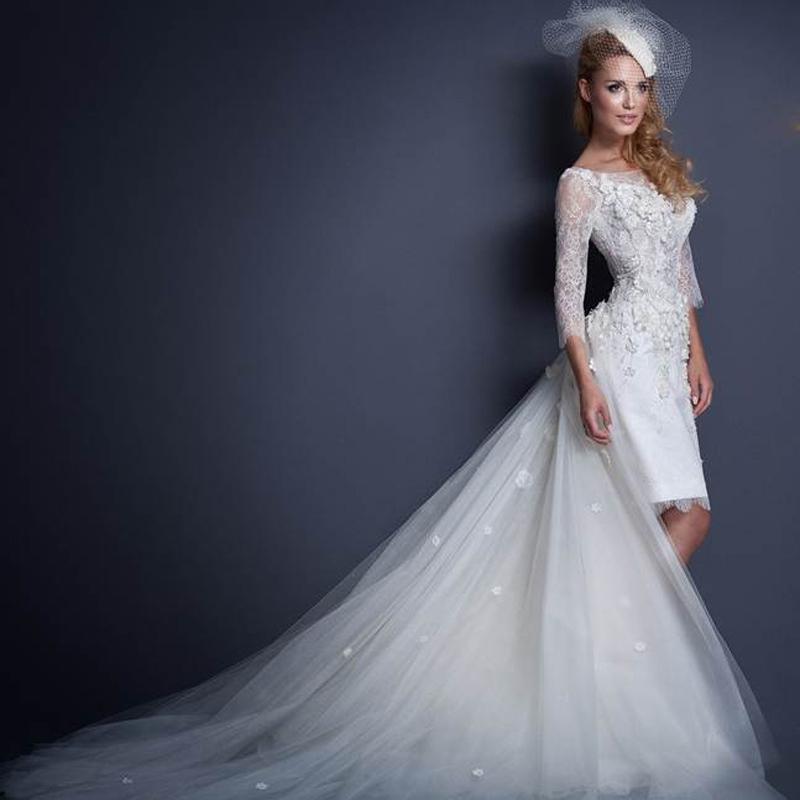 2015 fashionable high low lace wedding dress detachable for Wedding dress detachable sleeves