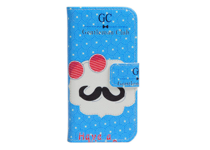 ZeWoo Folio PU Leather Case - Q002 / Have a Nice Day + gentleman club - for Apple iPhone 5 5S Wallet Cover(China (Mainland))