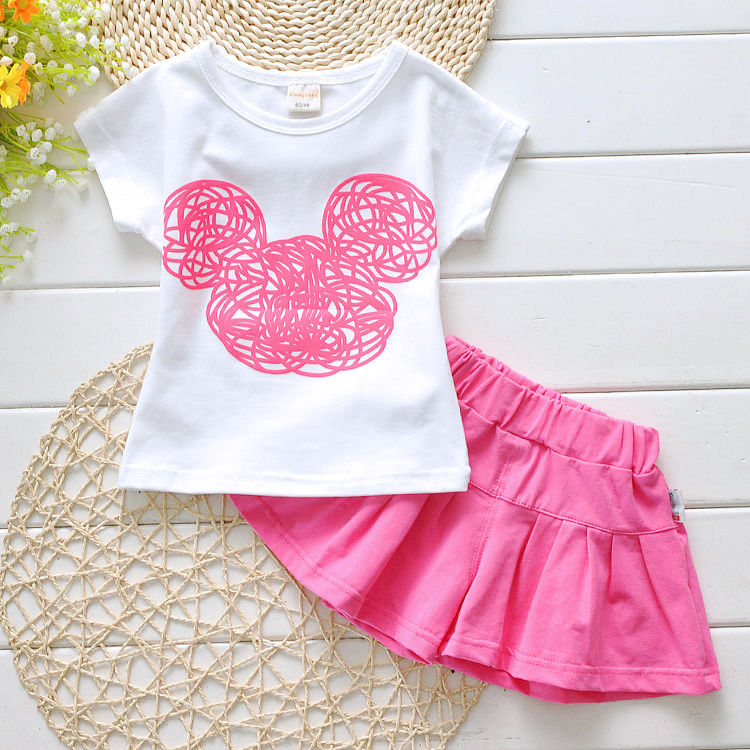 2016 New Cute Girls Kids Clothes Sets Outfits Toddler Kids Minnie Mouse T shirt Shorts 2pcs