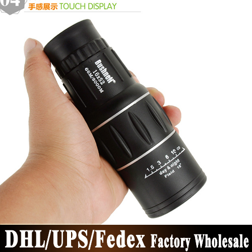 DHL UPS Fedex 100pcs/lot 16X52 HD Green Film Upper And Lower Dual Focusing Single Tube Telescope(China (Mainland))