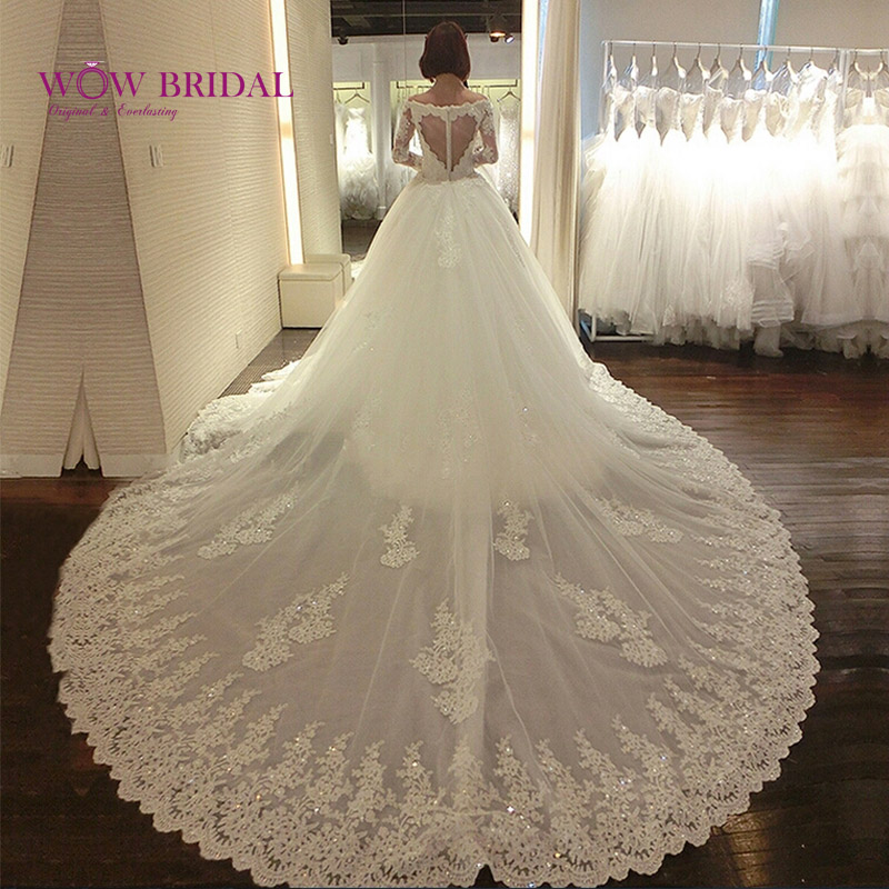 Wowbridal 2016 New Design Sheer Heart Back Wedding Dresses Cathedral Train Winter Long Sleeve Wedding Gowns(China (Mainland))