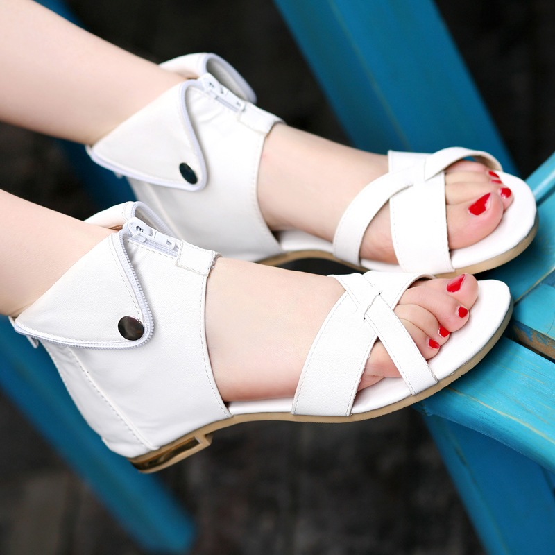 Big Size 33-43 Brand New Rome Women sandals Sexy Elegant Fashion Sequined Cover Heel Beige Black Brown White shoes Zipper Sweets(China (Mainland))