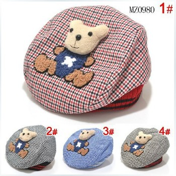 Hot Sale!2014 New Arrival Spring baby 100% cotton hat child sun hat baby baseball cap cute Winnie beret hat for 0-2 year QH00005
