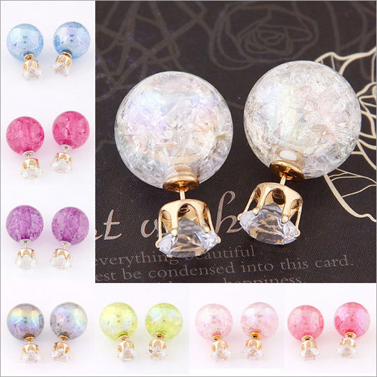 Super Deal Brand Cheap Double Pearl Earrings Colorful Statement Zircon Channel Stud Crystal Earring Wedding Jewelry Women JS04(China (Mainland))