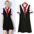 Discount Runway Dress Summer 2017 Vintage Short Sleeve Dresses Women Rope Print Zip Designer Dress Brand