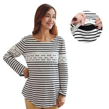 Stripe Cotton Nursing Shirt Winter Warm Breastfeeding Clothing for Feeding Pregnancy Shirt Maternity T-shirts for Pregnant Women(China (Mainland))