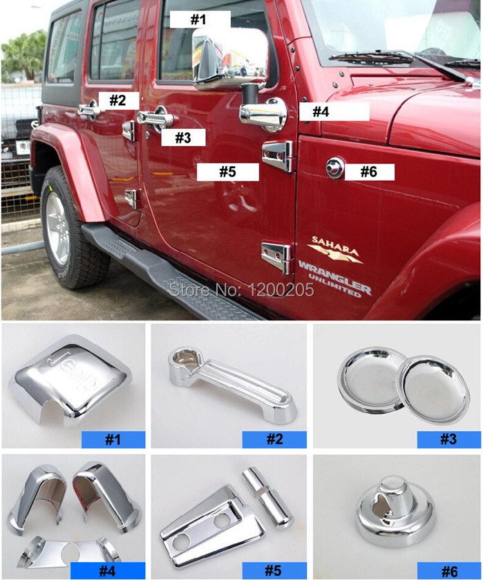 Quality Chrome Covers For Jeep Wrangler Chromed Accessories Mirror Door Handles Cover Tail Light Grille Hinge Fuel Tank Stickers(China (Mainland))