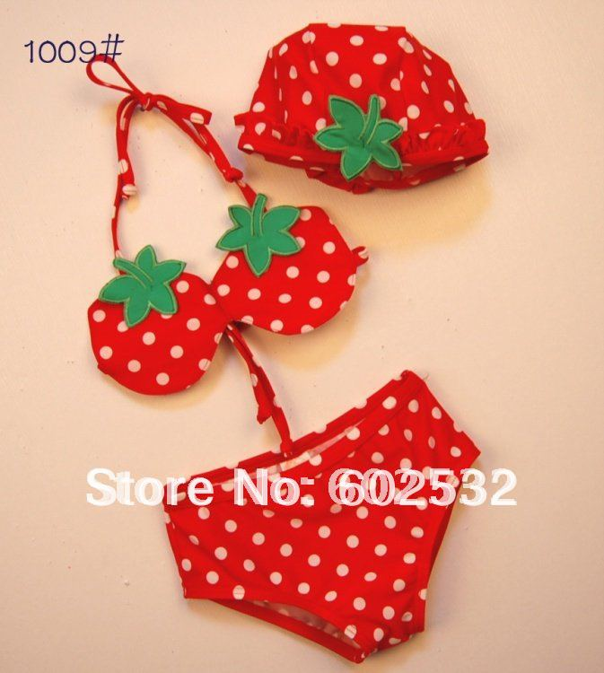 Kids swimsuits girls set bathing suits Strawberry style 5 sets lot Y197