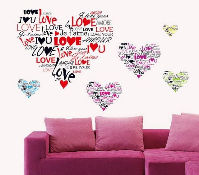 Стикер стены сладкая любовь в форме сердца наклейки горячая распродажа съемный наклейки на стены искусства винил поделки обои свадебные украшения
