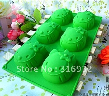 D3 6 grid silicone cake mold,  Hello Kitty silicone chocolate mold, cake bakeware, 3pcs/lot