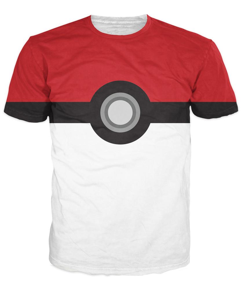 Pokemon Pokeball Catch Em All T-Shirt Cartoon Tees Fashion Clothing Summer O-Neck Pullover Free Shipping Plus Size(China (Mainland))