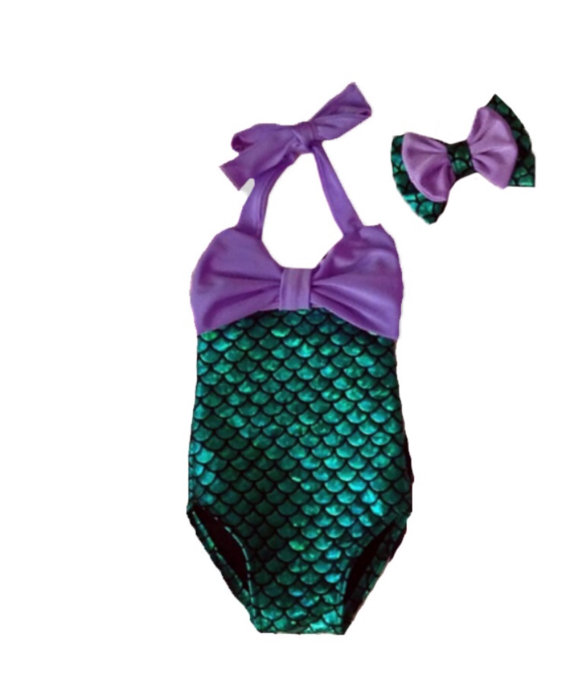 25dd2b96f61d 2019 Wholesale 2016 Cute BABY Girls Mermaid Green Bikini Suit ...