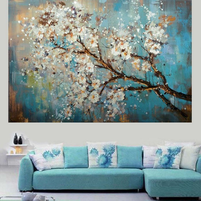 Handpainted Modern Abstract Flower Canvas Art Decoration of Oil Painting Wall Pictures For Living Room Paint(China (Mainland))