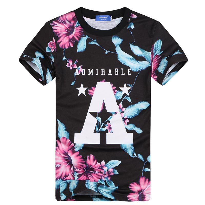 [Mikeal] New Fashion Men/women t-shirt 3d printed big A letters flowers Harajuku style Graphic T shirt summer tops tees(China (Mainland))